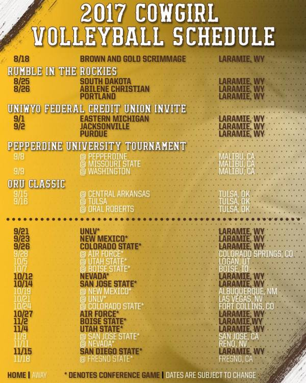 Cowgirl Volleyball Announces 2017 Schedule