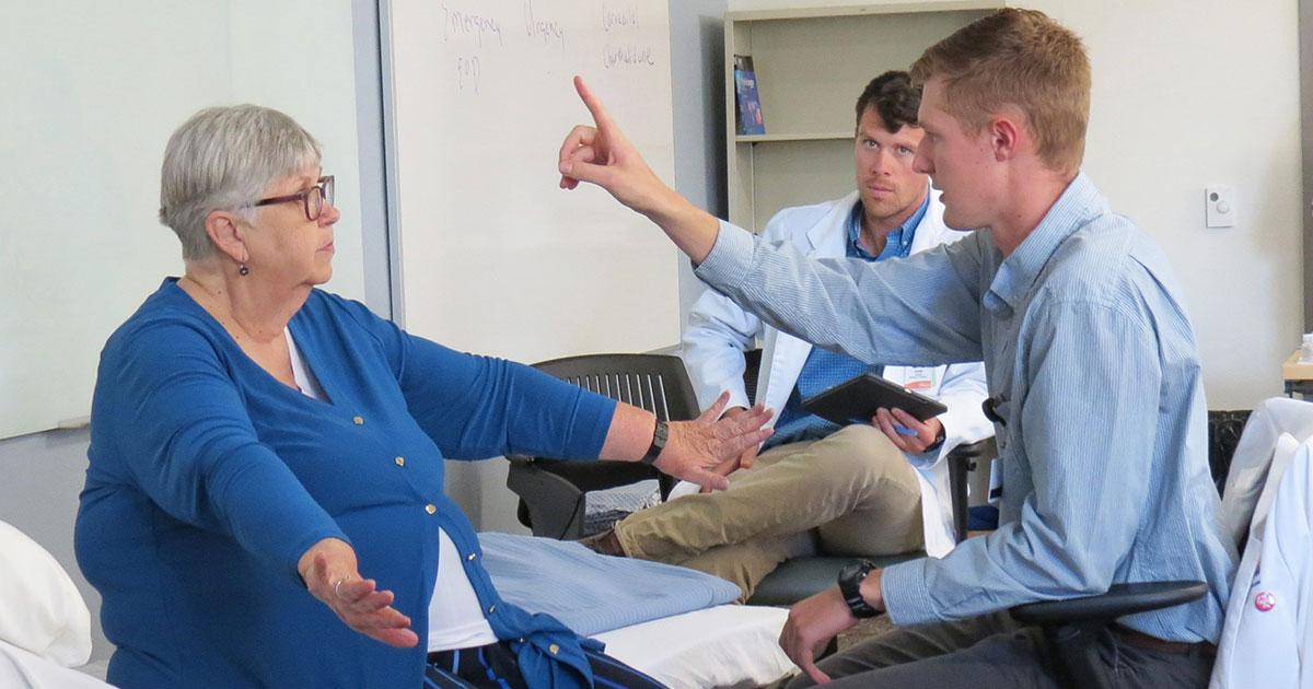 Local UW Health Sciences Students Work with Patient Actors to Hone Skills