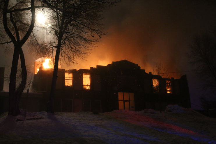 Washington Square Burns Down, Crews Work Through the Night to Extinguish Flames