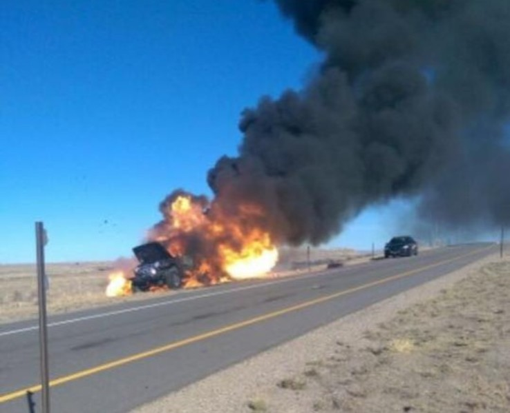 No Injuries Reported in a I-80 Vehicle Fire Saturday Afternoon
