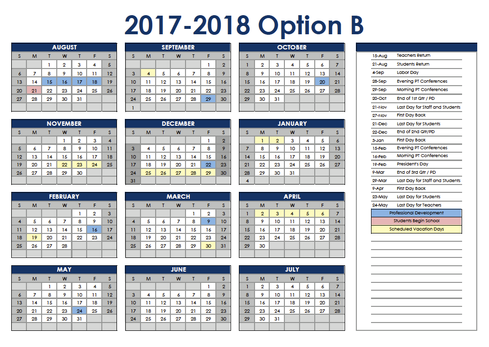 School District No. 1 Board Approves 2017-2018 and 2018-2019 Calendars