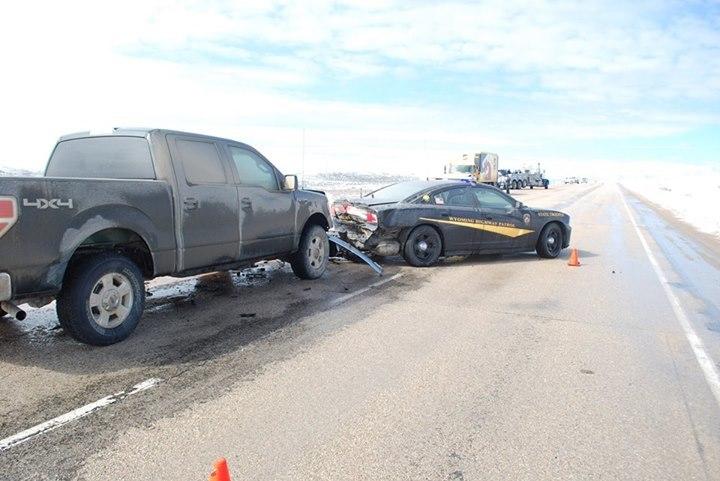 Wyoming Highway Patrol Trooper injured when his vehicle was struck