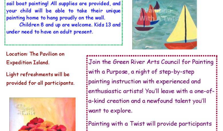 Green River Arts Council announce Painting with a Twist is back on Sept. 27 and will involve sailboats