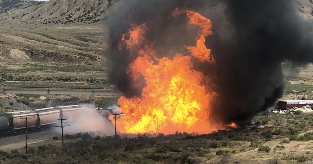 Explosive Fire Bursts Just Outside of Rock Springs; 26 Train Cars Derailed