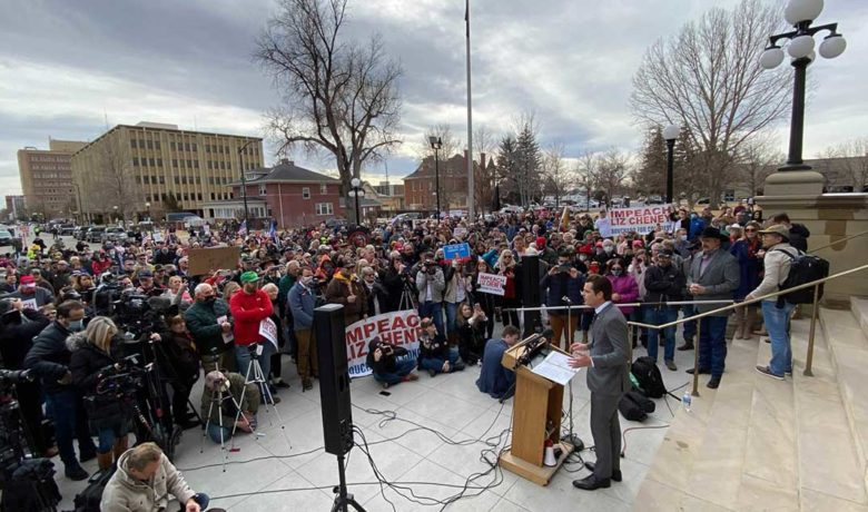 Hundreds Gather for Anti-Cheney Rally Outside Capitol Held by Fla. Rep. Matt Gaetz (PHOTOS)