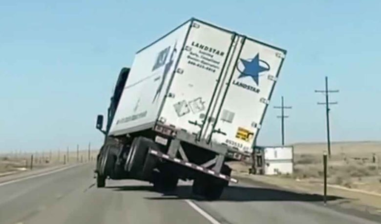 Video Shows Trailer Lose Control in Wyoming's High Winds on Monday