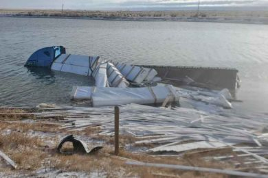 Semi-Truck Driver Injured after Driving Into a Pond near Laramie