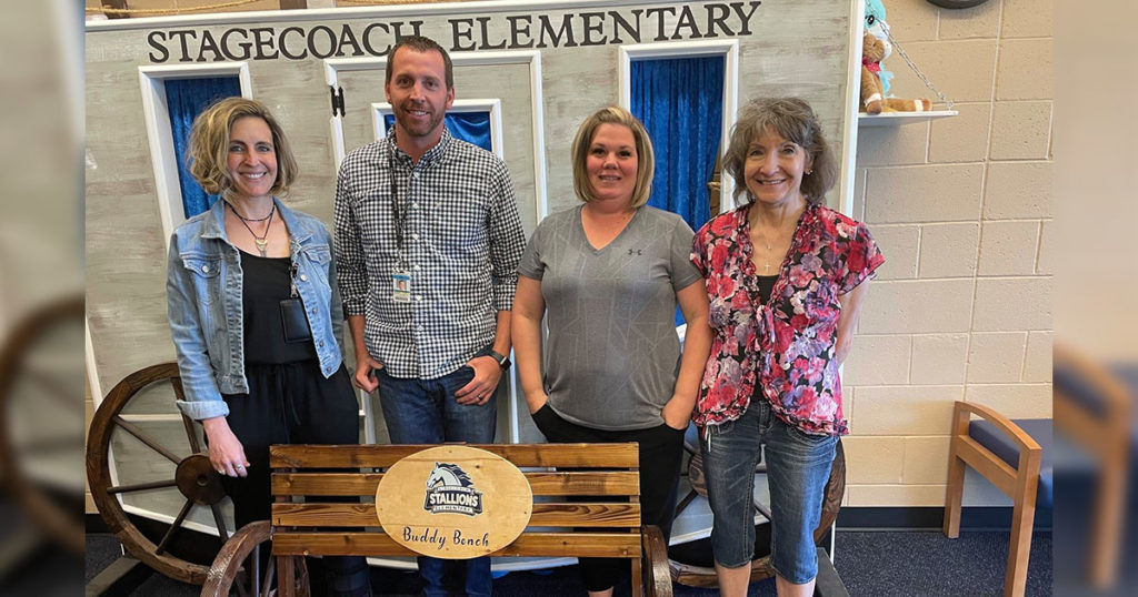 Woman's Club Donates Benches to Stagecoach and Northpark Elementary Schools