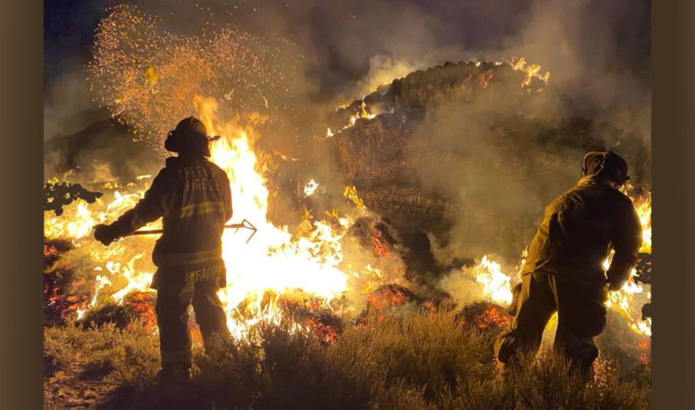 Agencies Unite to Battle Hay Fire Along Highway 372 Monday