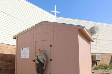 Boy Scout Builds Shed for Travelers Assistance Program